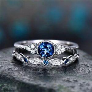 New 2Pcs/Set rings 925 Sterling Silver